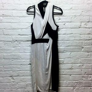 Helmut Lang Black and White Draped Dress SZ 6